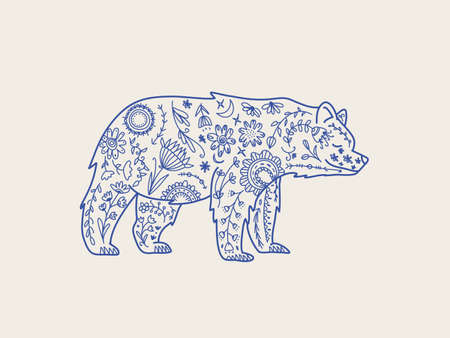 Bear folk graphic element Nature  , textile print. Wild Bear totem animal, vector hand drawn illustration.