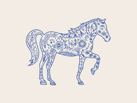 Horse in line style Nature  , graphic element, textile print. Wild horse totem animal, vector hand drawn illustration.