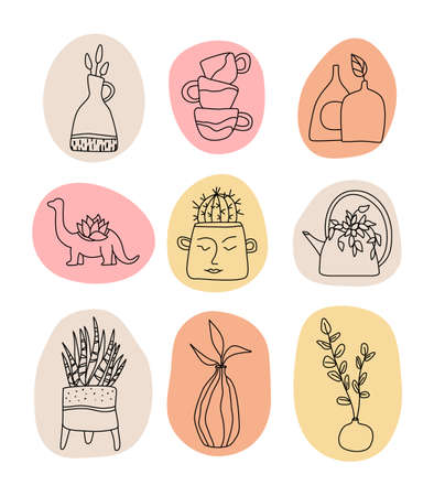 Handmade Clay Pottery Logos collection. Handmade ceramics vector graphic elements. Decorative labels for pottery workshop, floral shop. Stock Illustratie