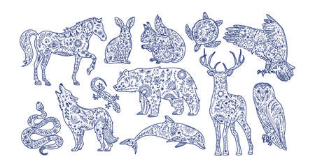 Scandinavian folk animals. Nature  ethno textile print. Wild totem animal, vector hand drawn illustration.