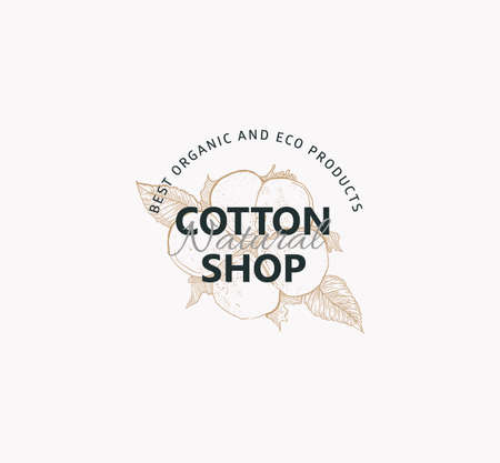 Cotton nature  sign. Vector of natural shop with image cotton flower on light background. Engraved style. Иллюстрация