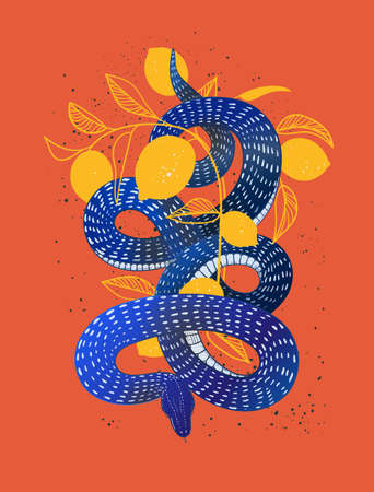 A bright mystical poster a snake wrapped around a citrus tree. Snake hand drawn vector illustration.