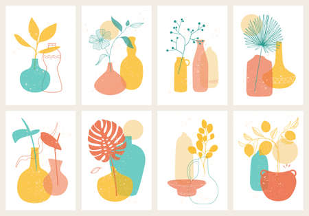Set of different decorative ceramic and porcelain vases vector illustration. Boho Home decor print, cover. Иллюстрация