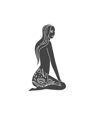 Woman meditating icon with flower pattern in hand drawn style. Folklore nature style