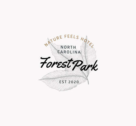 Nature logo sign. Engraved style. Leaf tree emblem for hotel or national park, social networks.