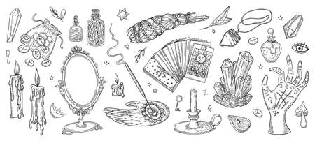Vector witchcraft set, magic objects and mystery symbols antique mirror, candles, crystals, runes, tarot cards. Иллюстрация