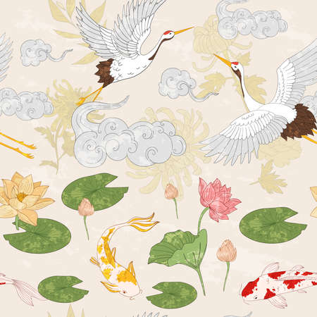 Asian pattern with gold carps, flying cranes and clouds. Pattern in japan style with lotus flowers