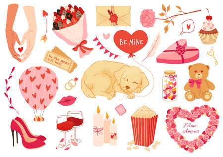 Set of valentines day stickers, elements, love symbols and romantic icons. Vector flat illustration.