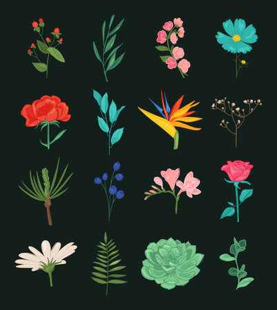 Floral plants isolated doodle icons. vector illustration. Beautiful spring and summer flower collection Иллюстрация