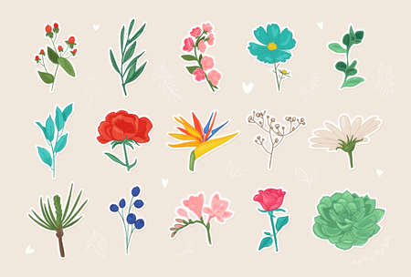 Flower stickers vector illustration. Beautiful flower collection, romantic floral elements, doodle icons.