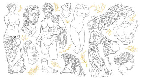 Vector set of antique sculptures. Antique statues Venus, Apollo, greek statue head and body. Linear icons greek gods