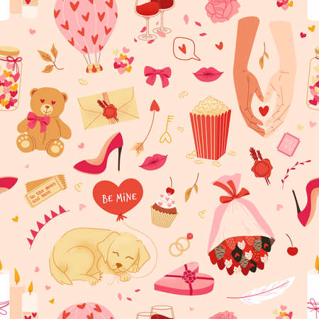 Valentines day background, holiday cute pattern with love symbols and romantic icons.