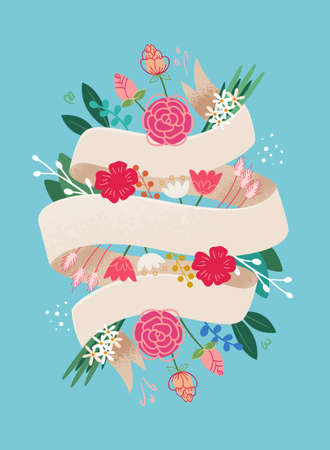 Template floral card design with place for your text lettering quote. Ribbon and flowers composition hand drawn style Иллюстрация