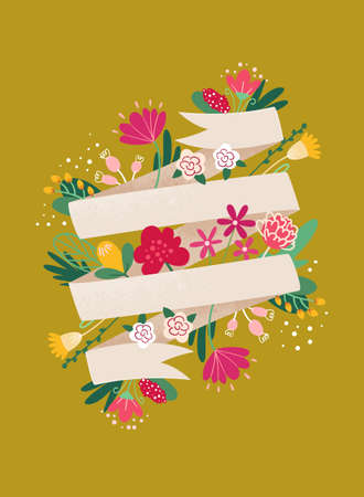Spring Greeting card template with ribbon for text. Ribbon banner with flowers