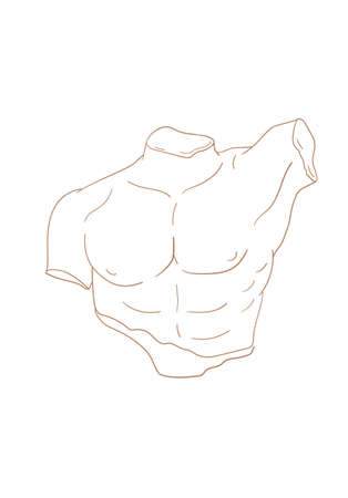 Vector isolated icon antique sculpture. Antique greek statue body. Linear icon greek male torso, male abs silhouette sketch illustration.