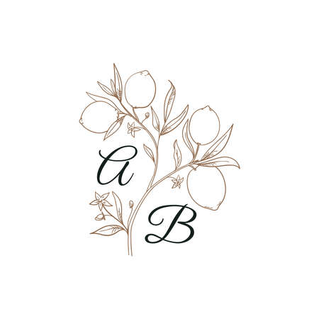 Plant Initials isolated design, uppercase letters with lemons. Vector nature monogram for wedding, greeting.