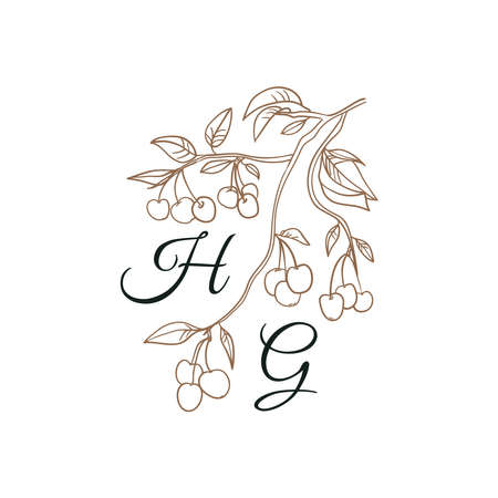 Nature Initials isolated design, uppercase letters with leaves, cherry branch. Vector nature monogram for wedding.
