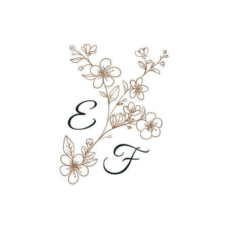 Floral Initials isolated design, uppercase letters with sakura flowers Vector nature monogram for wedding, greeting.