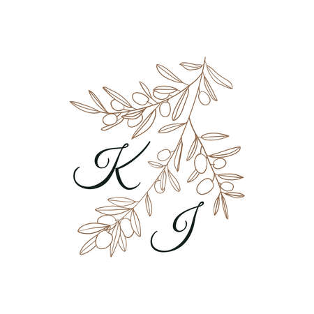 Nature Initials isolated design, uppercase letters with olive branch. Vector nature monogram for wedding, greeting.