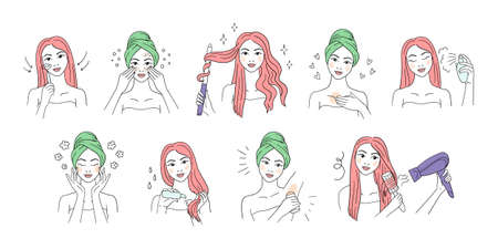 Girl Skin Care Routine icon set line art style. Woman Beauty procedures skincare, hair care. Doodle icon set girl cares for face and body Иллюстрация
