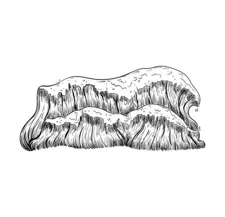 Sea waves handdrawn sketch. Vintage hand drawn ocean tidal storm wave isolated Иллюстрация