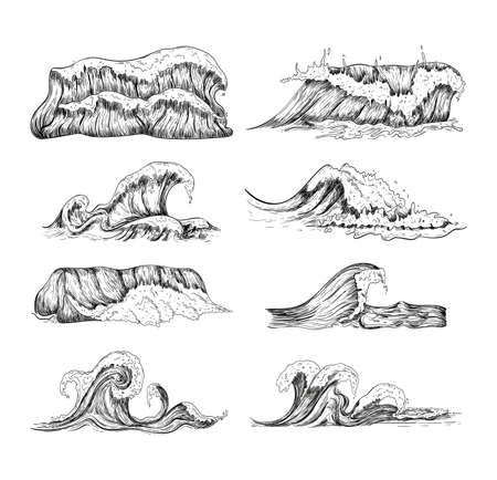 Sea waves handdrawn sketch set. Sketch ocean waves collection.