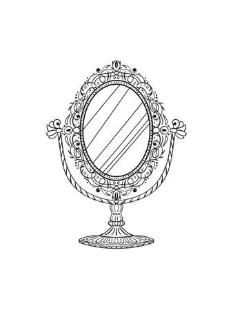 Freehand pencil drawing of a vintage table mirror. Sketchy antique baroque mirror. Vector illustration.