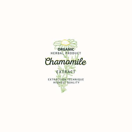 Chamomile symbol natural logo, vector brand identity in line sketch style. Chamomile medicinal plant - Logo Vectores
