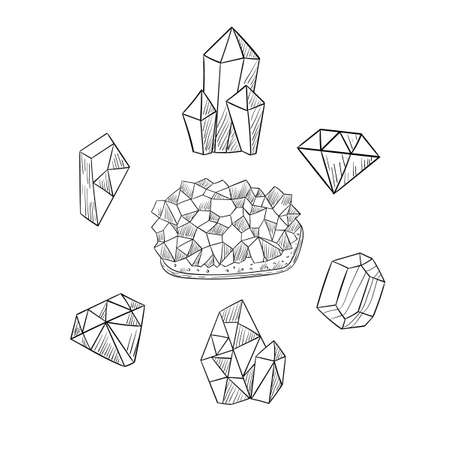 Freehand drawing of various crystals. Sketch of crystals icons. Vector illustration.