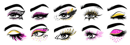 Collection of Eyelash extension logos, graphic element. Vector illustration of girl design lashes. Makeup master logo.