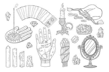 Hand drawn esoteric acult icons in sketch style. Vector witchcraft set, magic objects and mystery symbols antique mirror, candles, crystals, runes, tarot cards.
