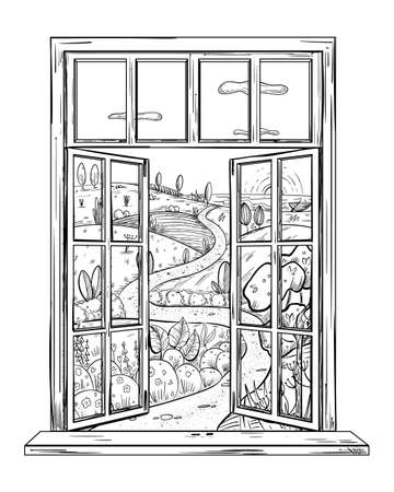 Fabulous spring landscape in the window. Open window into wonderful world, dreams illustration concept in sketch style, place for escape and meditation.