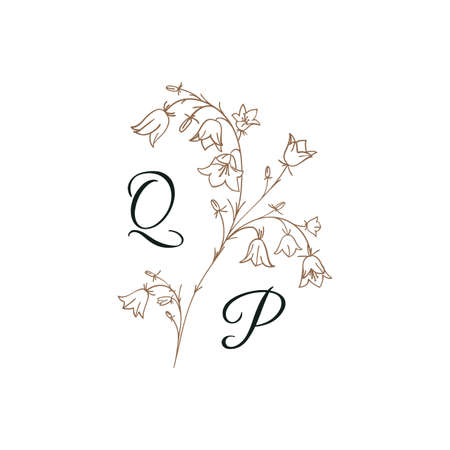 Nature Initials isolated design, uppercase letters with flowers bells. Vector nature monogram for wedding, greeting.