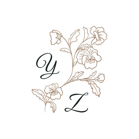 Nature Initials isolated design, uppercase letters with pansies flower branch. Vector nature monogram for wedding, greeting.