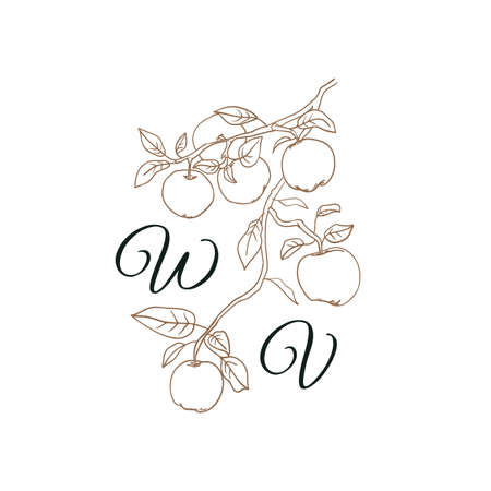 Nature Initials isolated design, uppercase letters with apple tree branch with fruits. Vector nature monogram for wedding, greeting. Иллюстрация