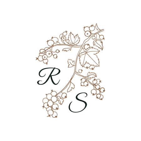 Nature Initials isolated, uppercase letters with viburnum, branch with berries Vector nature monogram for wedding, greeting.