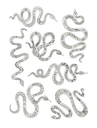Vector set of snakes totem animal graphic elements for  tattoo or sticker black and white design.