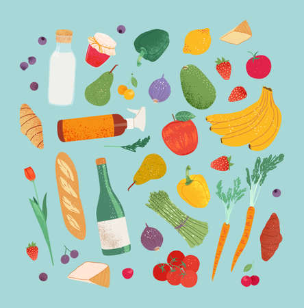 Grocery purchases set, fruits and vegetable from the local store, market, farm. Department store goods illustration for banner, pattern.