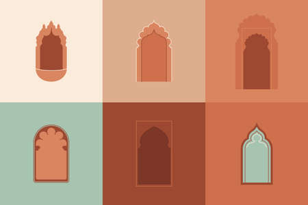 Vector moroccan shapes set. Architectural elements, arabic silhouettes of windows and doorways. Arabic badge design.