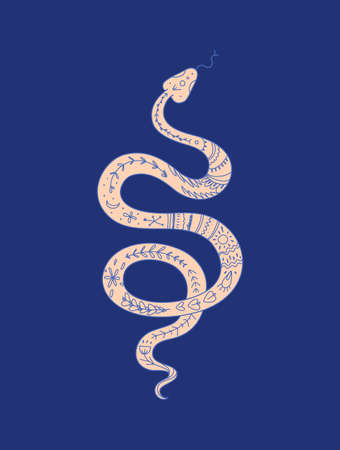 Coiled snake with ethnic ornament isolated illustration. Иллюстрация