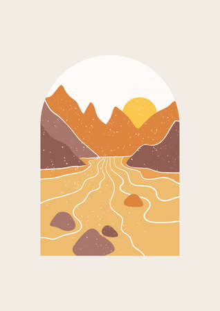 Abstract Landscape vector illustration. Minimal wall art decor, Digital nature Art. Mid Century Modern print of national park with river and mountains.