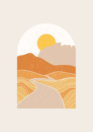 Abstract Landscape vector illustration. Minimal wall art decor, Digital nature Art. Mid Century Modern print of desert road with mountains.