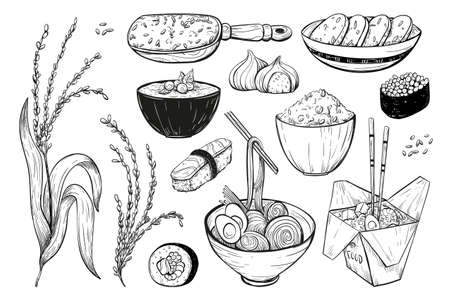 Rice vector icon set in sketch style. Collection of icons of rice products: noodles, sushi, mochi rice cake, porridge. Иллюстрация