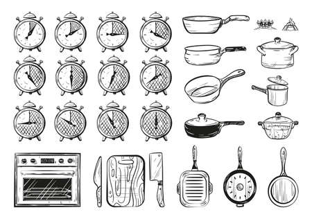 Vector illustration of a food preparation time. Sketch set of kitchen utensils. Vintage hand drawn style. Stopwatch.