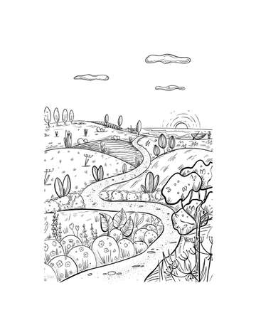 Fabulous summer landscape illustration in sketch style, place for escape and meditation. Иллюстрация
