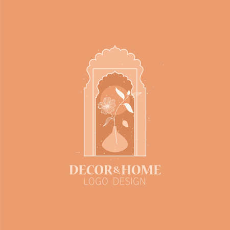 Vector concept of trendy arch   with flower in a vase, linear style  with window in moroccan style. Vectores
