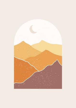 Abstract Landscape vector illustration. Minimal wall art decor, Digital nature Art. Mid Century Modern print of mountains.