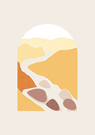 Abstract Landscape vector illustration of mountain river. Minimal wall art decor, Digital nature Art. Mid Century Modern print of national park with river and mountains.
