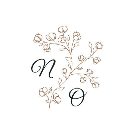 Nature Initials N and O isolated design, uppercase letters with cotton flowers. Vector nature monogram for wedding