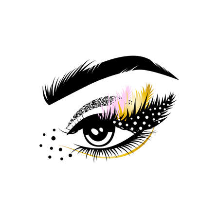 Female eye with long lashes and art make-up. Eyelash extension graphic element. Vector illustration.